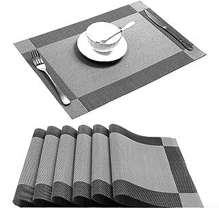 U'Artlines Placemat, Crossweave Woven Vinyl Non-Slip Insulation Placemat Washable Table Mats Set of 6 (6pcs placemats, Sil...