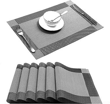 U'Artlines Placemat, Crossweave Woven Vinyl Non-Slip Insulation Placemat Washable Table Mats Set of 6 (6pcs placemats, Silver