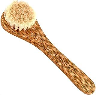 QWEET Handmatige droogkuisborstel van hout (bamboe) en geitenhaar voor gezichtsverzorging Scrub Peeling Massage exfoliatin...