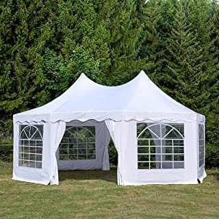 Quictent 20x14.5ft Party Tent Heavy Duty Wedding Tent Octagonal Gazebo Outdoor Canopy-White