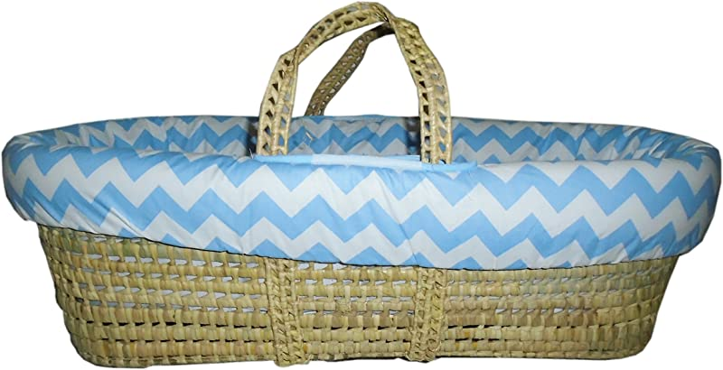 Baby Doll Bedding Chevron Moses Basket Blue