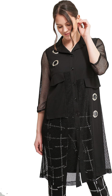 Joseph Ribkoff Straight Cut Button Down Blouse in Black