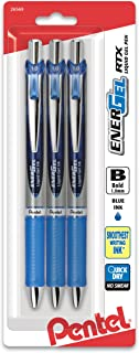 Pentel EnerGel RTX Retractable Liquid Gel Pen, Bold Line, Metal Tip, Blue Ink 3Pk (BL80BP3C)