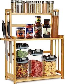 autumndeer Étagère à épices en bambou avec 3 étages Support à épices Organiseur de cuisine Étagère à épices / étagère à he...