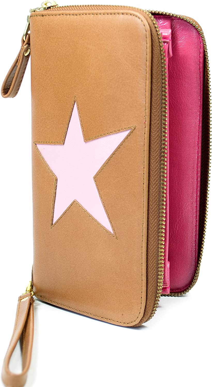 ONE Star Purse in Caramell bull, unterlegter unterlegter unterlegter Stern in metallic Rosa, innen Lipgloss Portemonnaie, Geldbörse, Damen, Echt Leder B072MN6V74 6f0fdb