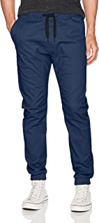 WT02 Men's Jogger Pants in Basic Solid Colors and Stretch Twill Fabric