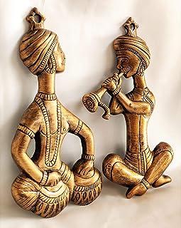 Akriti Brass Art Wares Metal Musician with Tabla Hanging Flute Wall Hanging Wall Decor Showpiece