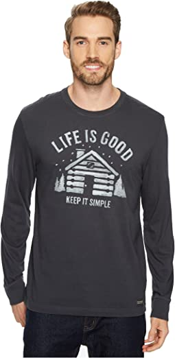 Life is Good - Simple Cabin Long Sleeve Crusher Tee