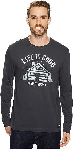 Life is Good - Simple Cabin Long Sleeve Crusher Tee
