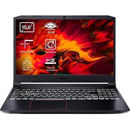 "Acer Nitro 5 - Portátil Gaming 15.6"" FullHD (Intel Core i7-10750H, 8GB RAM, 512GB SSD, Nvidia GTX1650-4GB, Windows 10 Home), Teclado QWERTY Español, Color Negro"