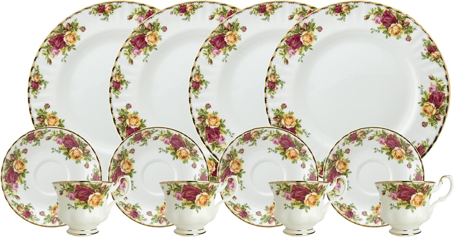 Royal Doulton Royal Albert Old Country Roses 12 Piece Set Service For 4