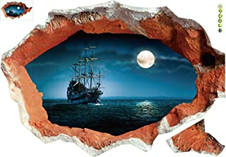 """""""Hole In The Wall"""" Night Time Sea View of Pirate Vessel Boat Approaching Under Moonlight 3D Wall Sticker - 39"""" x 28"""""""