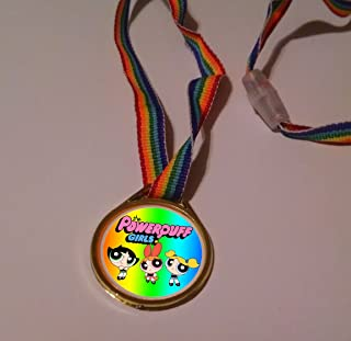 12 POWERPUFF GIRLS RAINBOW MEDALS/necklaces birthday party favors