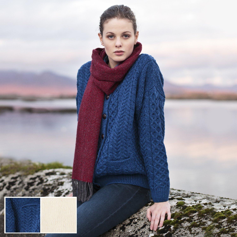 Carraig Donn 100% Irish Merino Wool Ladies Lumber Sweater with Pockets.
