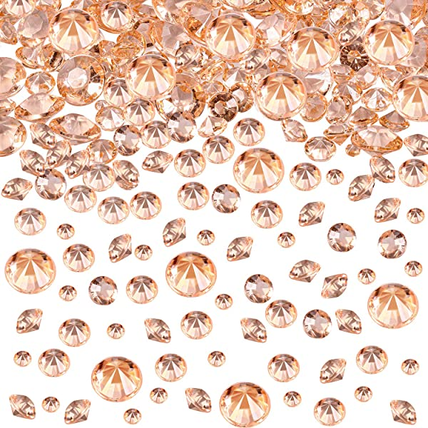 4000 Pieces Table Confetti 3 Sizes Wedding Crystals Acrylic Diamonds Rhinestones Vase Fillers For Birthday Baby Shower Party Tables Rose Gold