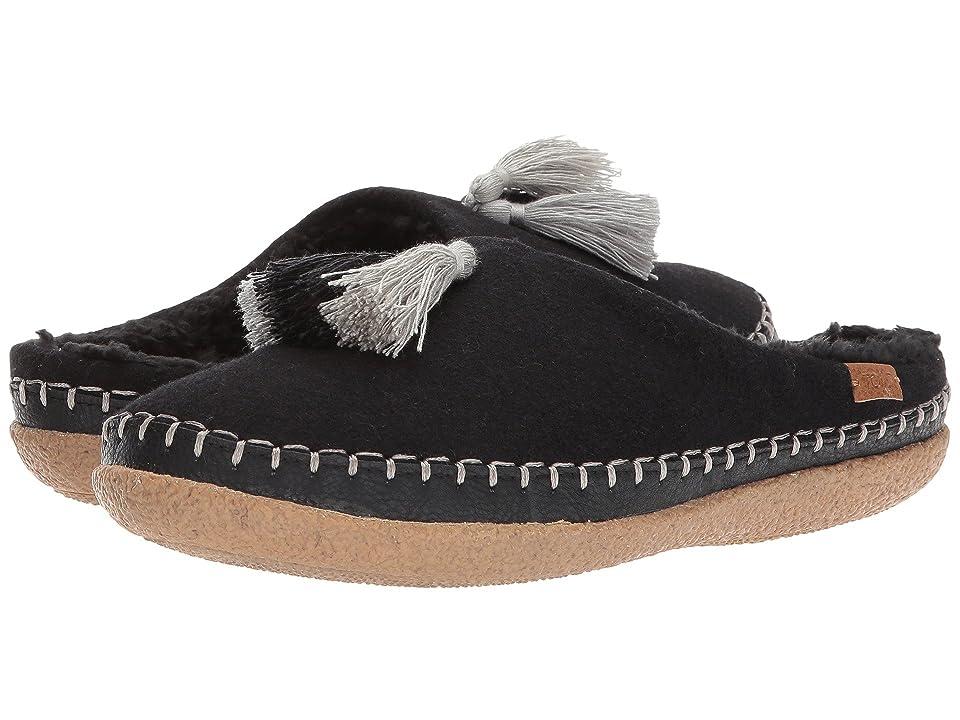 TOMS Ivy Slipper (Black Wool/Tassels) Women