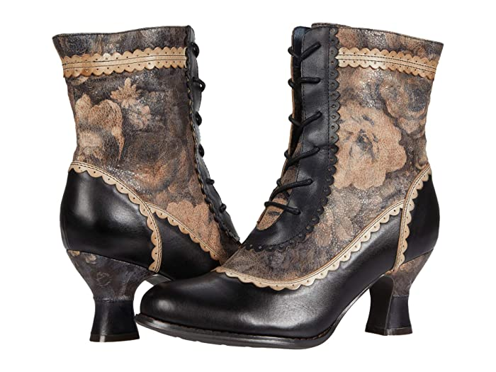 Vintage Boots, Retro Boots LArtiste by Spring Step Bewitch-Flora Black Multi Womens Shoes $127.46 AT vintagedancer.com