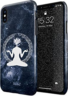 Glitbit Compatible with iPhone Xs Max Case Meditation Yoga Buddha Buddism Ganesha Spirit Zen Zentangle Cosmic Galaxy Space Vibration Thin Design Durable Hard Shell Plastic Protective Case Cover