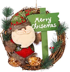 "iWedn 12 inches Christmas Wreath, Mini Vine Wreath for Door/Show window/Home Decorations, Santa Claus Doll with Bell and ""Merry Christmas"" Sign Design, Ideal for Christmas Decor. (12 inch Santa Claus)"