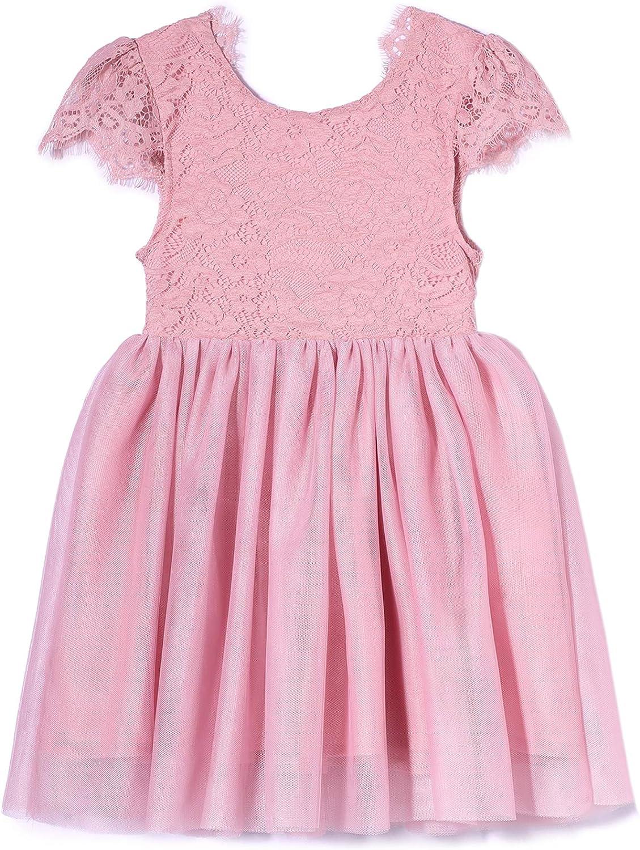 Niyage Toddler Girls Cap Sleeve Elegant D Lace 1 year Popular standard warranty V-Backless Floral