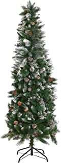 PRAISUN 6/7ft Snow Artificial Pencil Christmas Tree, Hinged Flocked Trees with Pine Cones and Metal Stand, 794 Branch Tips...