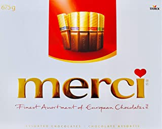 Merci Finest Assortment of European Chocolates. 675grams / 23.8 ounce Value pack. 54 pieces of individually wrapped Fine European Chocolates.