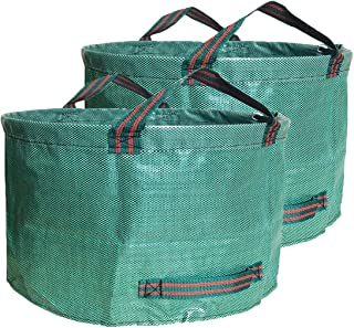 Abision 2 Pieces Polyester Leaf Bag 63 Gallons Waterproof Yard Waste Bags Gardening Garbage Recycling Processing Bag Lawn ...