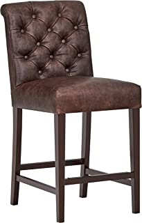 """Amazon Brand – Stone & Beam Carson Leather Tufted High-Back Counter-Height Kitchen Stool, 41""""H, Brown"""