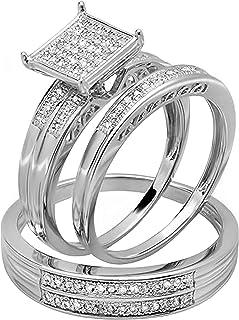 مجموعة Dazzlingrock 0.23 قيراط (ctw) جولة الماس الأبيض للرجال والنساء مجموعة من 3 خواتم 1/4 قيراط ، متوفرة في ذهب 10 قيراط...