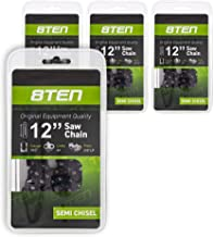 8TEN Chainsaw Chain 12 Inch .043 3/8 44 Drive Links for Echo Husqvarna Stihl 3610 005 0044 90PX044G 90PX44CQ 4 Pack