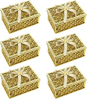 SandT Collection Rectangle Shape Trinket Jewelry Box - Set of 6-Gold