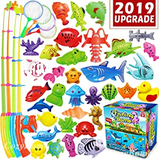 CozyBomB Kids Pool Fishing Toys Games - Ocean Animal Learning Set Magnetic Floating Toy Magnet Pole Rod Fish Net Water Table Bathtub Bath Game - Education for Age 3 4 5 Boys Girls Teacher Classroom