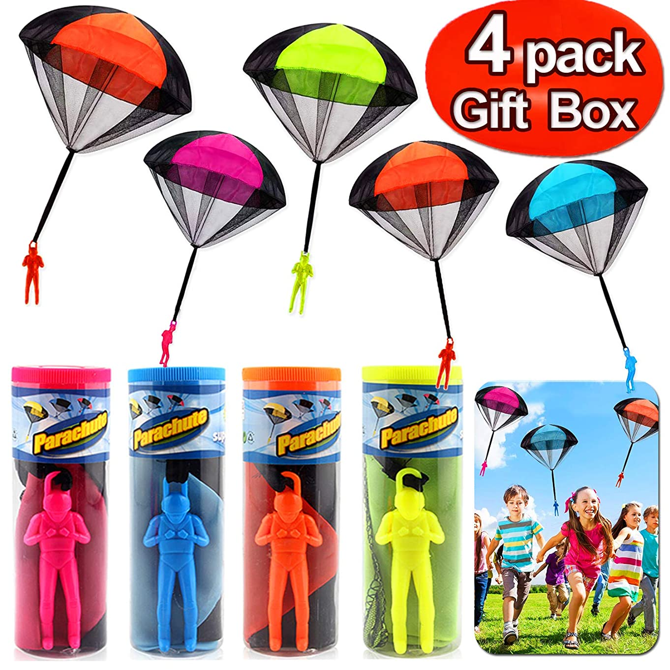 Parachute Toys - 4 Pack Tangle Free Hand Throwing Toy Outdoor Children Flying Parachute Toys No Batteries Flying Toys Skydiver Parachute Men with Launcher for Kids Family Game Holiday Toy Gift Set