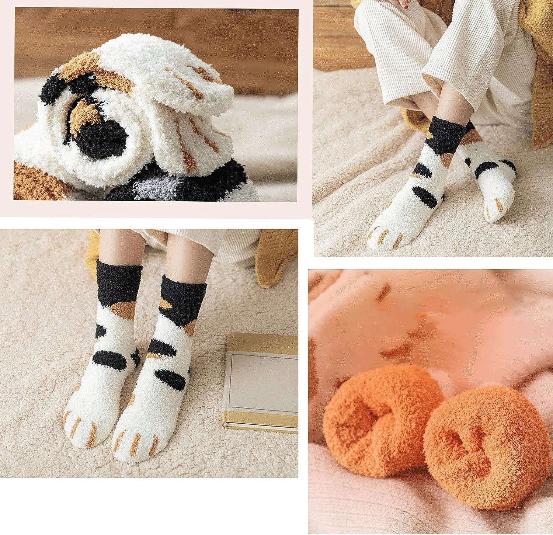 Opening large release sale GangZhENgSd Coral Fleece Socks- Cat Regular dealer Paw Plush Super Soft Socks