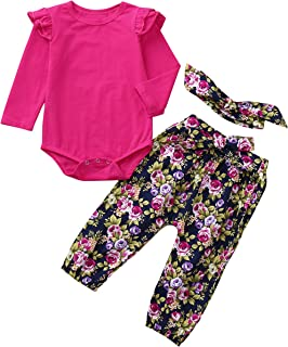 Londony Clearance Sale ❤️Infant Baby Girls Long Sleeve Romper Jumpsuit Floral Pants Headbands Outfits Set (6-12 Month, Hot Pink)