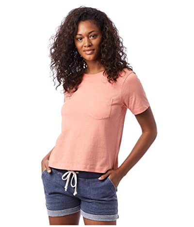 Alternative Heavy Wash Cropped Pocket Tee (Sunset Coral) Women