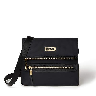 Baggallini City Lights Julie Slim Crossbody (Black) Handbags
