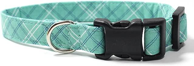 Seafoam Plaid, Teal, Green, Blue Tartan Designer Dog Collar, Adjustable Handmade Fabric Collars