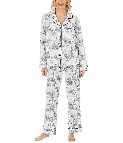 BedHead Pajamas Long Sleeve Classic Notch Collar Pajama Set (Woven Sateen)