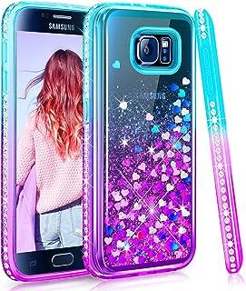 Maxdara Case for Galaxy S6 Glitter Case Gradient Liquid Quicksand Bling Sparkle Pretty Luxury Fashion Diamond Rhinestone Clear TPU Protective for Girls Women Galaxy S6 Case (Teal Purple)