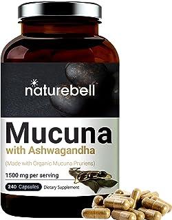 Mucuna Pruriens Capsules, 1500mg Per Serving, Made with Organic Mucuna and Ashwagandha, 240 Capsules, 30% Natural L-Dopa f...