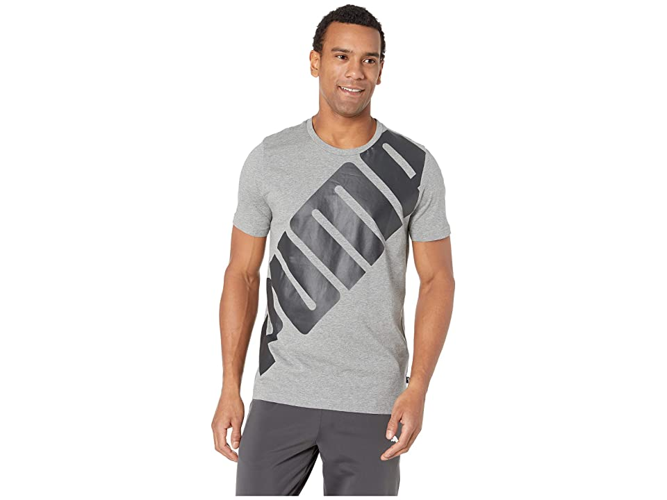 PUMA Big Logo Tee (Medium Grey Heather 2) Men's T Shirt, Gray