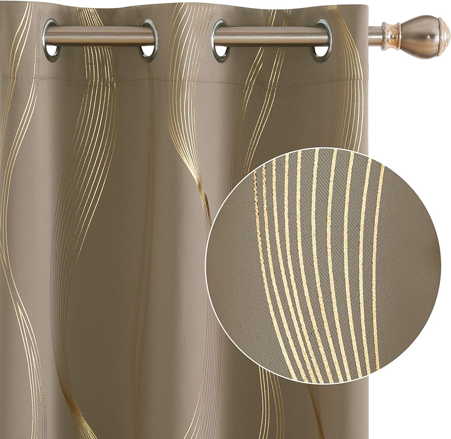 Genuine Deconovo Golden Foil Print Striped Thermal Blackout Long Beach Mall In Curtains