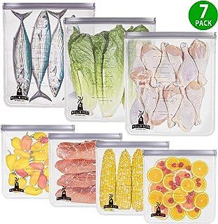 Moulin Vert {7PCS} reusable storage bag 2 Gallon - LEAKPROOF Ziplock Gallon Freezer Bags for Marinate, Snack, Sandwich, Fruit, Cereal, Travel Item, Meal Prep, Home Organization