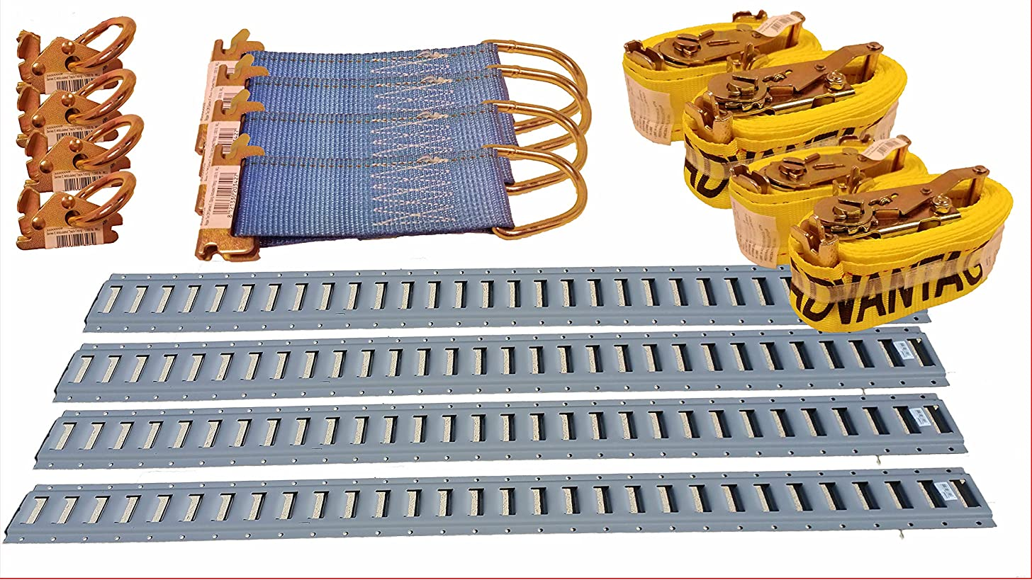 E-Track Transport Package - 4 E Track Rails, 4 Tie Down Anchors, 4 Steel Rope Tie Offs, 4 12' Ratchet Straps