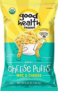 Good Health Organic Baked Puffs, Mac & Cheese – 5.25 oz. Bags (10 Count) – Baked with Organic Cheese from Organic Valley –...