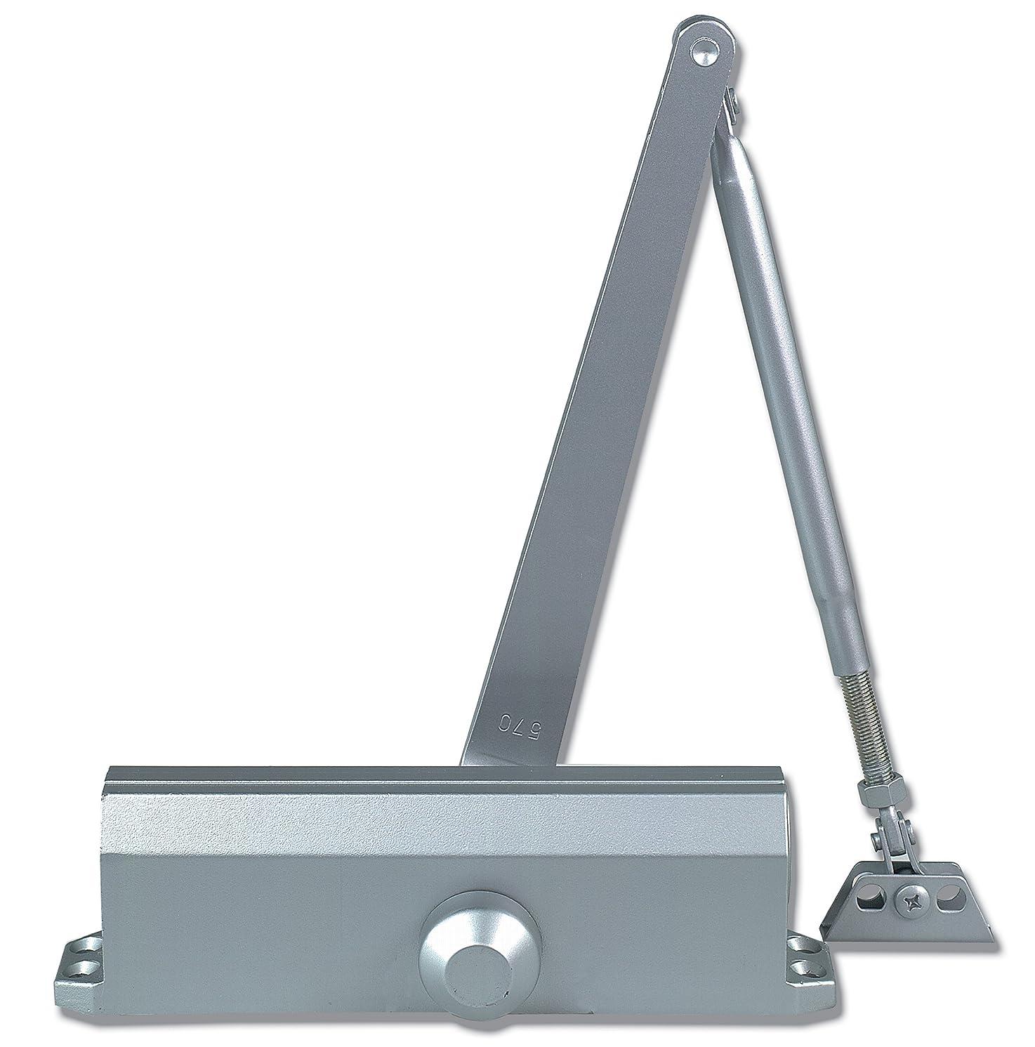 Global Door Controls Compact Commercial ADA Door Closer in Aluminum with Adjustable Spring Tension - Sizes 1-4