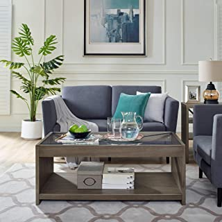 Classic Brands Rustic Farm House Solid Wood Coffee Table with Glass Top, Weathered Grey