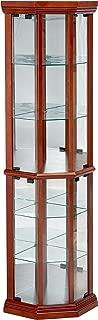 Glass Corner Curio Cabinet with 6-Shelf Medium Brown