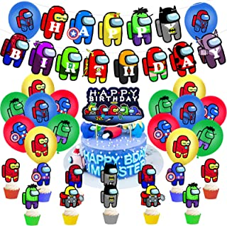 AM ANNA Among Us Birthday Party Decorations Among Us Party Supplies 31pcs Ballons Include Birthday Banner Cake Topper Cupc...